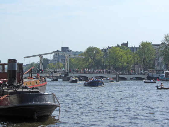 A bridge along the busy Amstel River in Amsterdam, NL.
