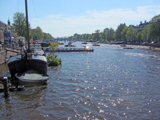 The busy Amstel River in Amsterdam