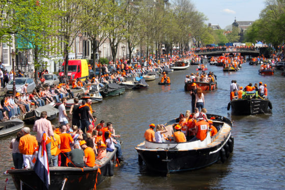 The party on the canals of Amsterdam during King's Day