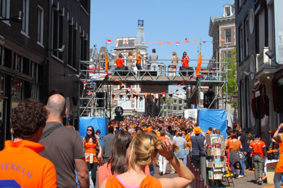 One of many squares in Amsterdam with loud music during King's Day