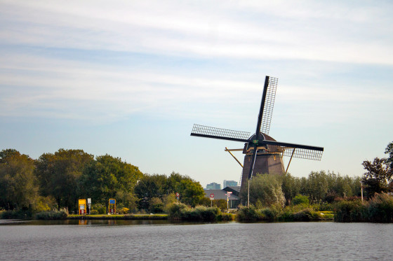 The Riekermolen Windmill near the Amstel River