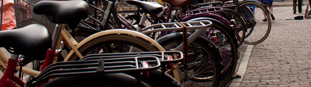 Locked bicycles in Amsterdam