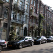Houses along the busy streets of Amsterdam