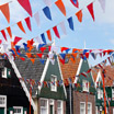 Flags hanging in the town of Marken after a celebration