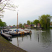 Rowing along the river Vecht in the town of Weesp