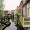 A canal between homes in the town of Zaandam, north of Amsterdam