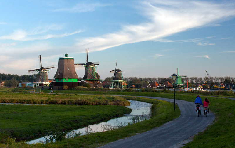 zaanse schans windmills bike route biking amsterdam